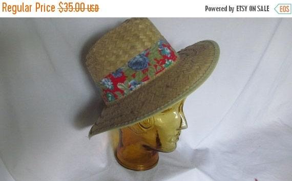 Mens Straw Hat Fedora Hat Red Floral Print Hat Ba… - image 1