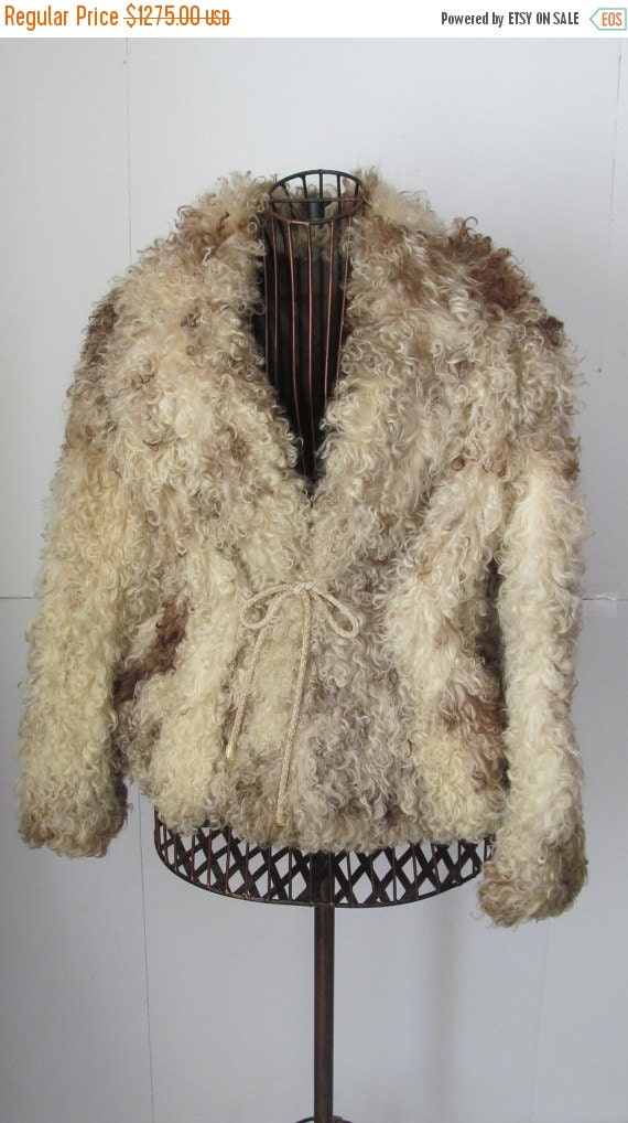 FUR COAT SALE White and Brown Genuine Curly Mongol