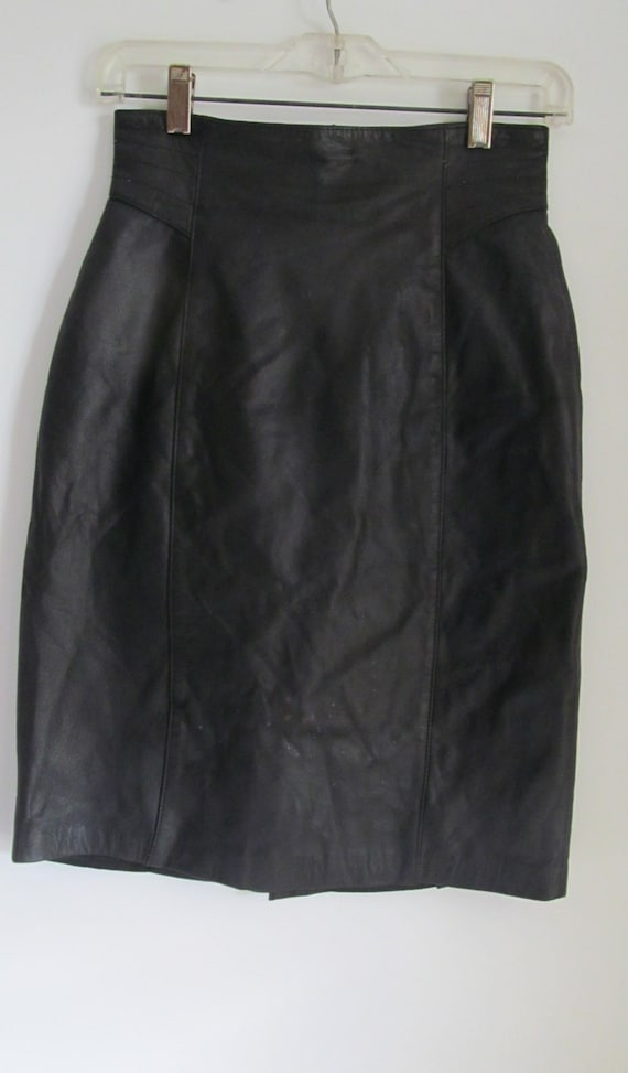 80s High Waist Skirt Fitting Black Leather Skirt 8