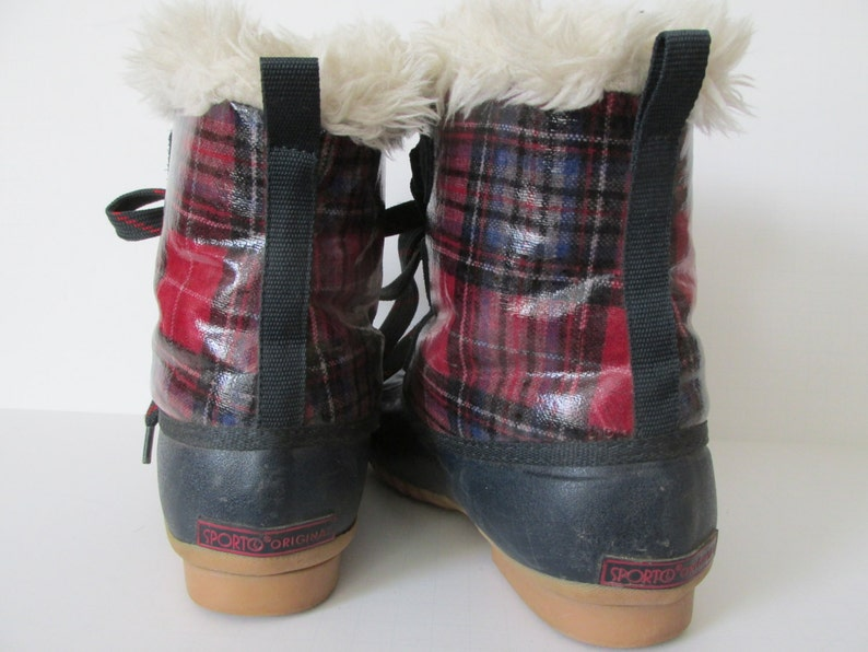 62be36e87ccd6 Plaid Boots Womens sz 6 Boots Winter Boots sz 6 Furry Boots Womens boots sz  6 Plaid accessories Tartan Boots womens Rubber Boots