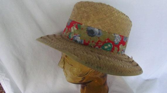 Mens Straw Hat Fedora Hat Red Floral Print Hat Ba… - image 3