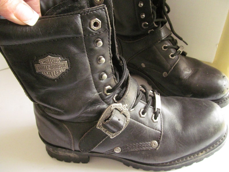 22504089f92 Harley Davidson Boots Black Leather sz 8 Harley Riding Boots Vintage  Motorcycle Riding Boots EUR 41 Harley Boots sz 8 US UK 7