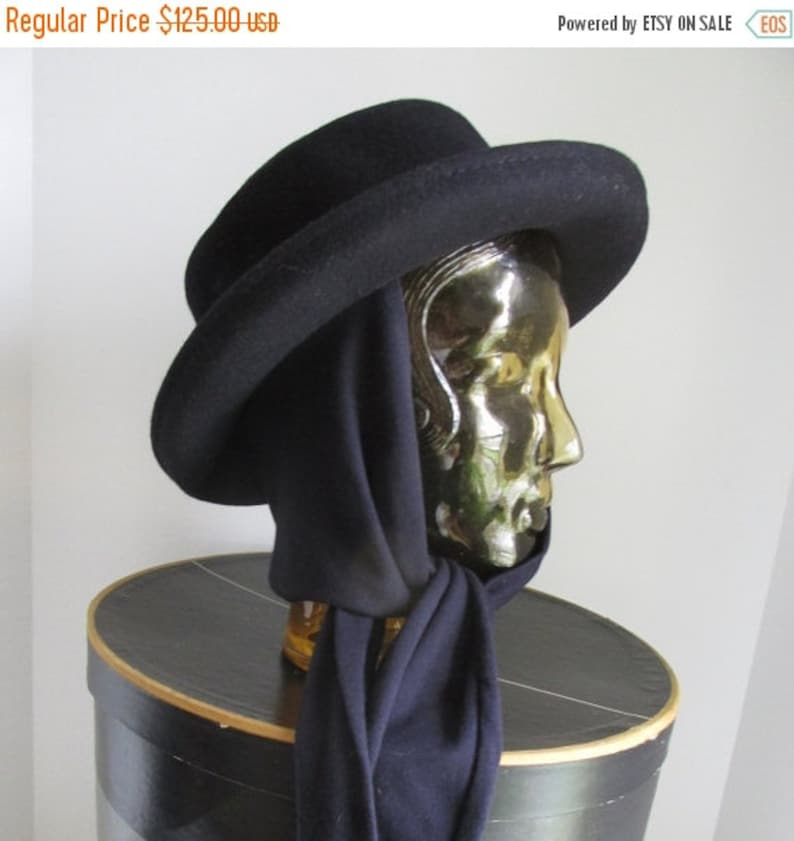 5c8639caa5e7f Navy Blue Classic Hat Deluxe Velour Womens Blue Wool Hat Chin