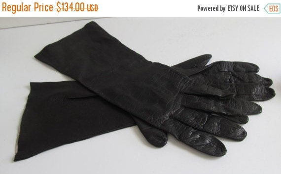 RARE Unique Long Black Kid Leather Gloves Lambskin