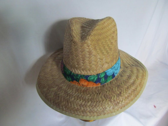 Mens Straw Hat Fedora Hat Red Floral Print Hat Ba… - image 5
