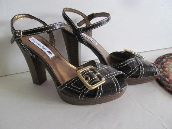 Brown High Heel Sandals Junior Prom Sandals sz 6.5 Juniors shoes sz 6 12 Sandals Brown Sandals Gold Buckle Shoes