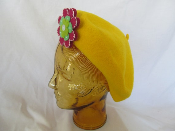 Festival Hat Flower Power Mod Wool Baret Hat Yello