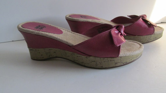 Fushia Wedge Sandals sz 6.5 Wedge Pink Sandals Pin
