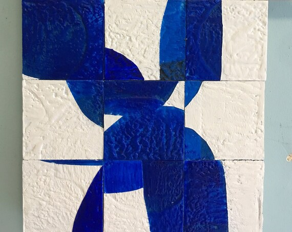 R House, Blue and White, encaustic painting