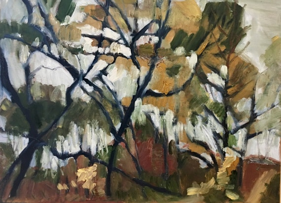 "Original Oil Painting: Autumn Abstaction , 16"" x 12"", original oil painting"