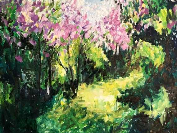 "Lilacs in the Spring, original oil painting, 32""x24"""