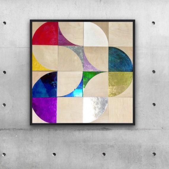 "A Little Moonlight, 40""x40"" encaustic painting"