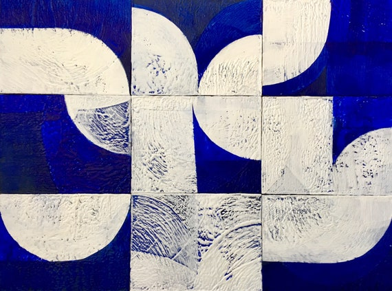 SORRY- Temporarily on hold:  Tree of Life, geometric blue and white abstract painting