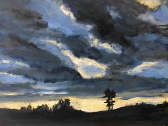 "Original Oil Painting: November Sky , 16"" x 12"", original oil painting"