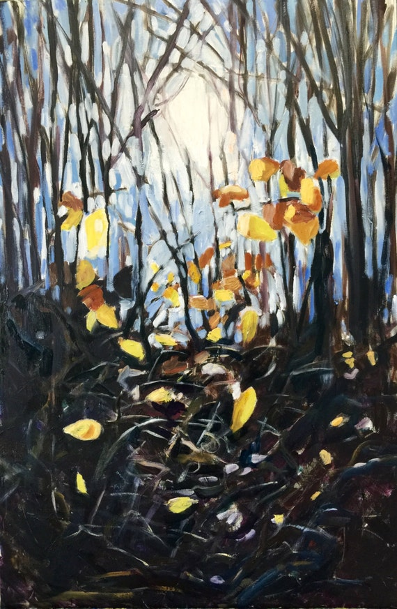 "Original Oil Painting: Last Leaves 36"" x 24"""