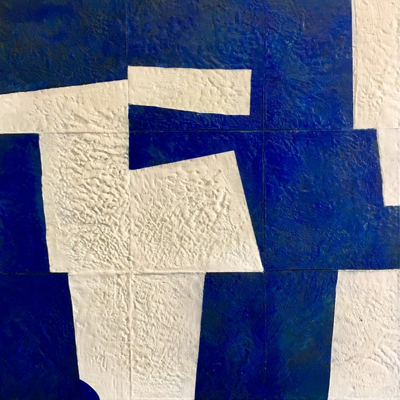 "Imaginary Construction in Blue and White, 24"" encaustic painting"