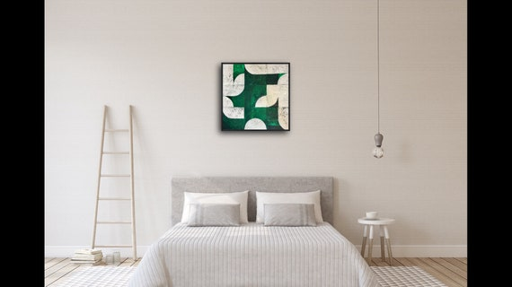 Open Fields, green and white abstract painting