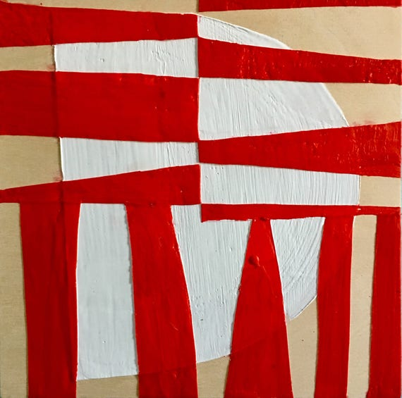 "Can't Hardly Wait, 10"" square red and white encaustic painting"