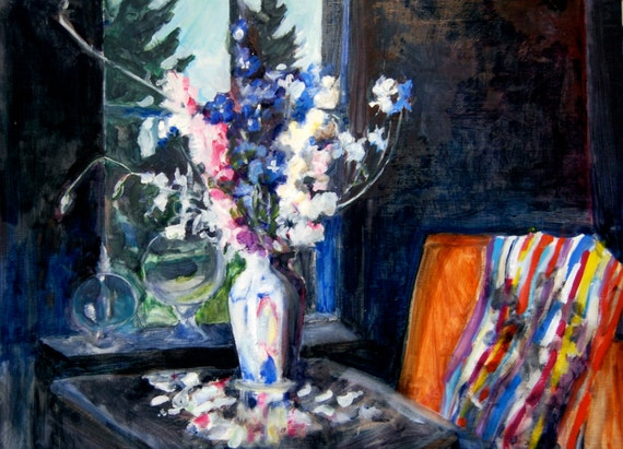 Original Oil Painting: Delphiniums by the Window