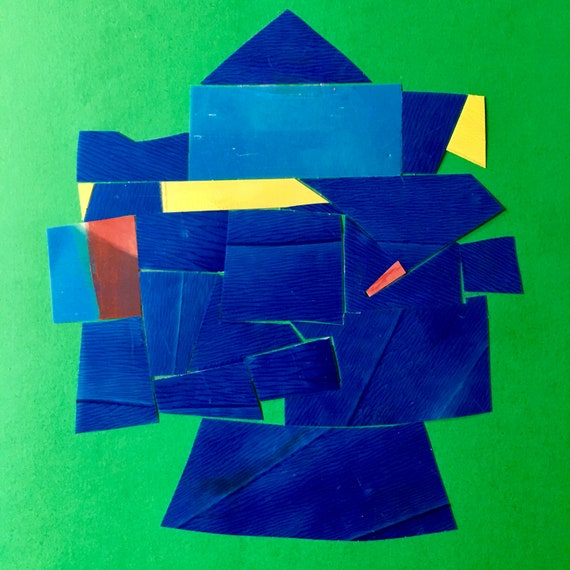 Blue Knight, abstract minimalist collage