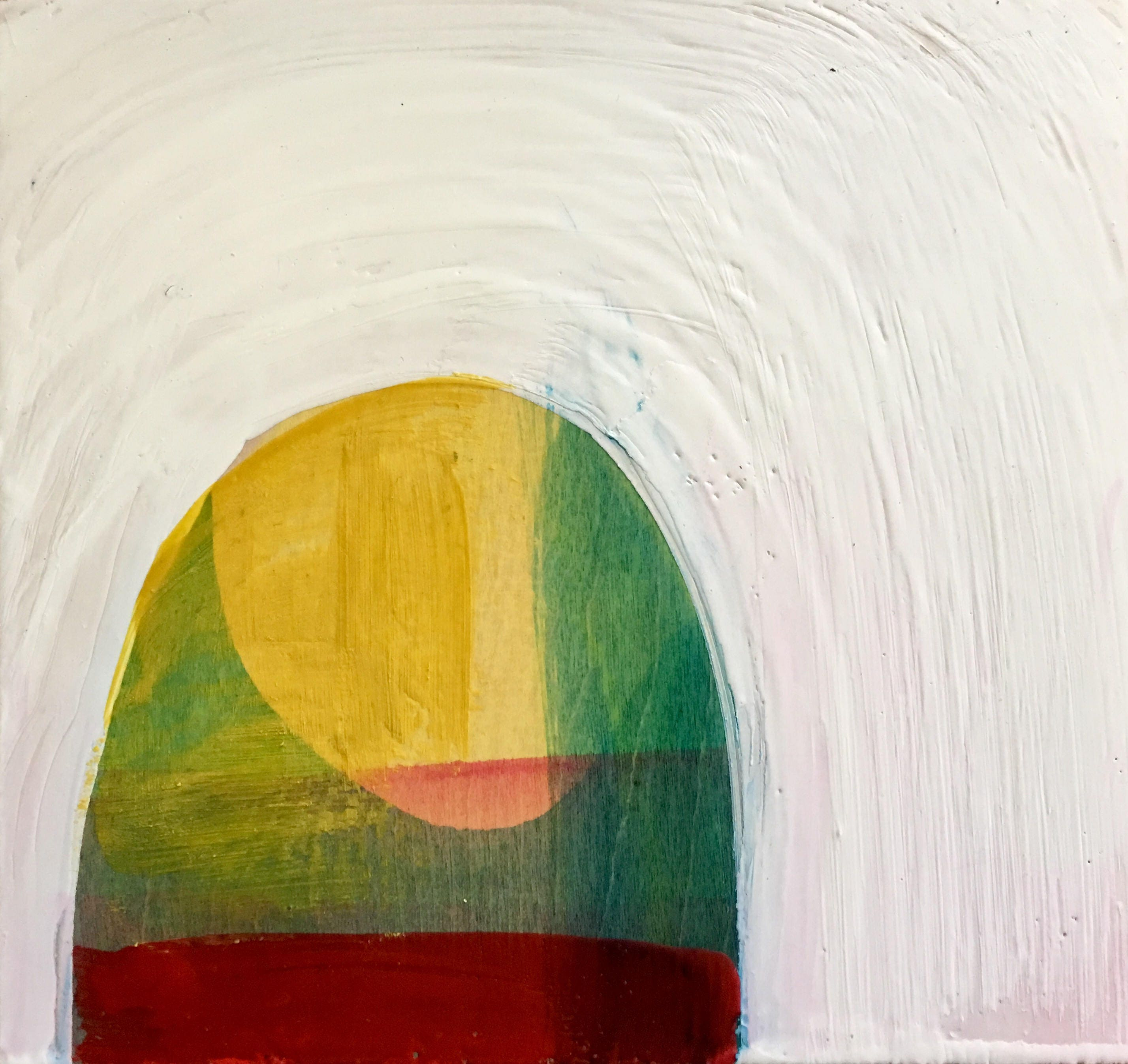 If Light At End Of Tunnel Is Green You >> Begining To See The Light 8 X8 Encaustic Painting
