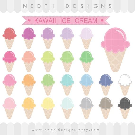 24 gráfico helado lindo de Kawaii PNG para imprimir fuentes | Etsy