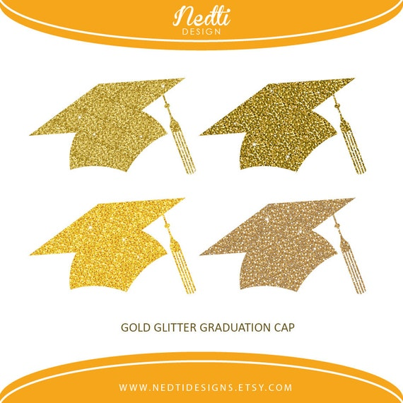 Items Similar To 4 Glitter Gold Graduation Cap Golden Glitter Hat