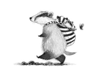 C18: Badger Print • Small cute Illustration • Cute Badger Mommy with babies • Ink art work • inktober • Nadyart • Baby wearing • Woodland