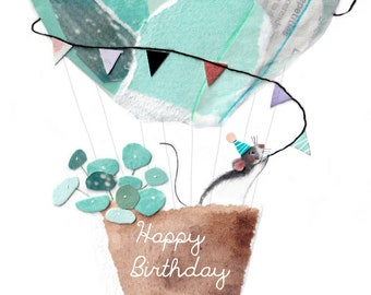 Birthday Card - Happy Birthday Postcard featuring cute Mouse / Rat
