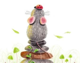 B31: Balance Art Print | Cute Rat / Mouse Meditating art print Colour pencil style