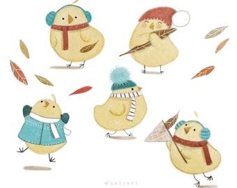 B22: Cute Chicks in Autumn Art print