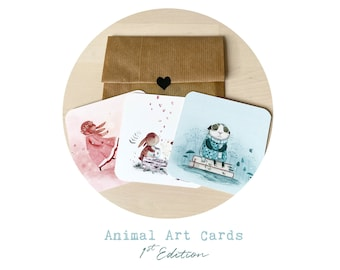 First Edition Animal Art Card Set: Cute Collectable Animal Cards - Set of 3 - Limited!