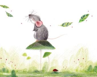 B25: Tranquil Art Print | Cute Rat/Mouse art print Colour pencil style