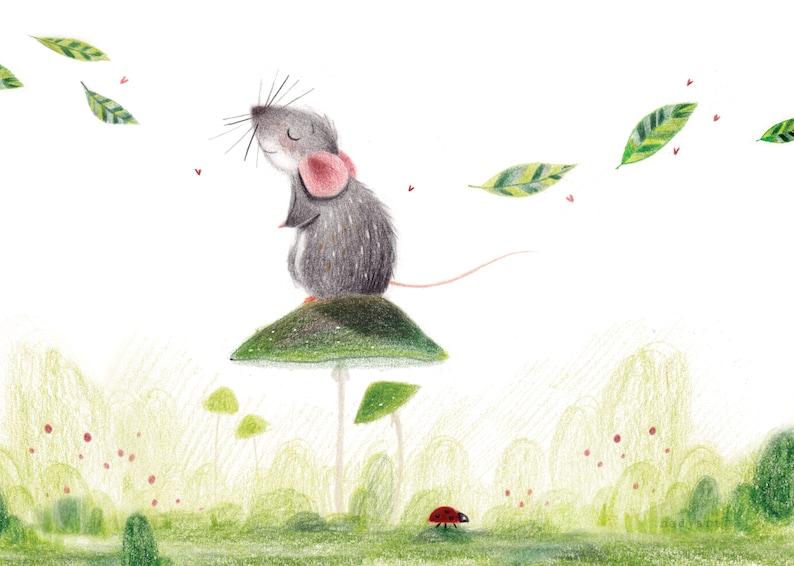 B25: Tranquil Art Print  Cute Rat/Mouse art print Colour image 0