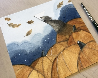 C6: Catching Autumn Leaves - Small cute art print
