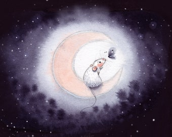 A5: Good Night Butterfly • Art print • Rat memory • Nadyart • Nursery Print • Ratroom Art • Moon • Crescent Moon • Butterfly • Art