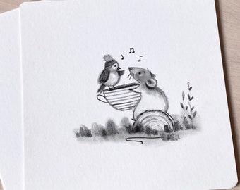 HANDMADE Cute graphite drawings (pick 1 or as set)