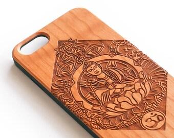 Bouddha iPhone 7 cas, en bois pour iPhone, Bouddha Art, cas de téléphone en bois, Zen, Yoga, Om, cadeau, Bouddha en bois, Bouddha housse de portable, cadeau pour Yogi