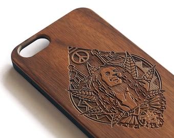 Noyer Bois Weed pour iPhone X | Cadeau en bois parfait pour stoners | La marijuana téléphone cas, accessoire pour stoners, Reggae, Rasta, 420 blaze il