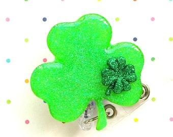 Patty/'s Day Badge Reel Knome Badge Reel St Set of 1 Glitter Badge Reel St Patrick/'s Day Badge Reel Nurse ID Badge Holder