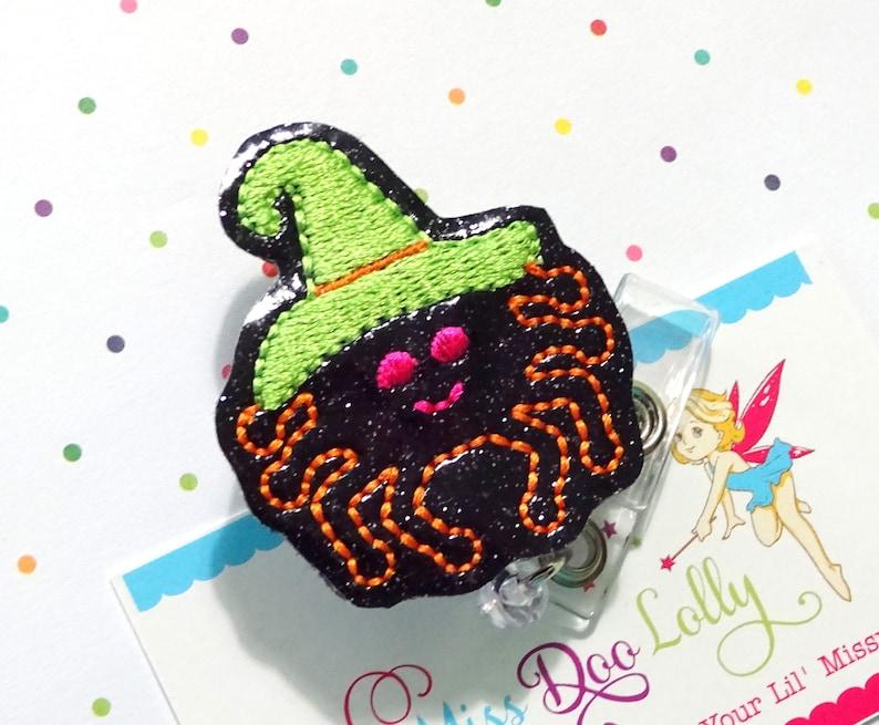 ID Badge,Witch Badge Reel-Halloween Halloween Badge Reel,Glitter Badge Reel,Spider Badge Reel Holder,Nurse Badge Reel Set of 1