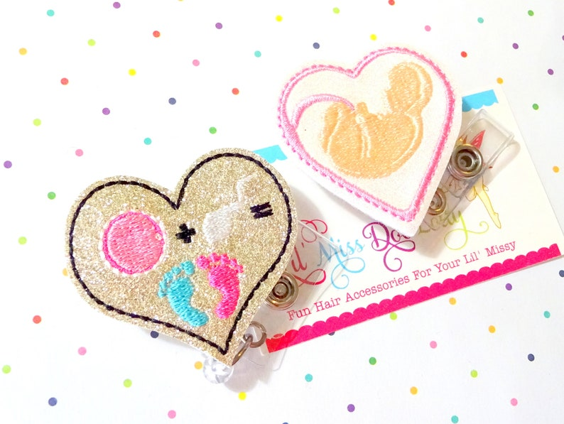 Fertility Badge Reel Set of 2 Ob GYN Badge Holder,Baby Badge Reel,Medical Id Badge,Glitter Badge Reel,Infertility Badge Reel,Nurse Badge