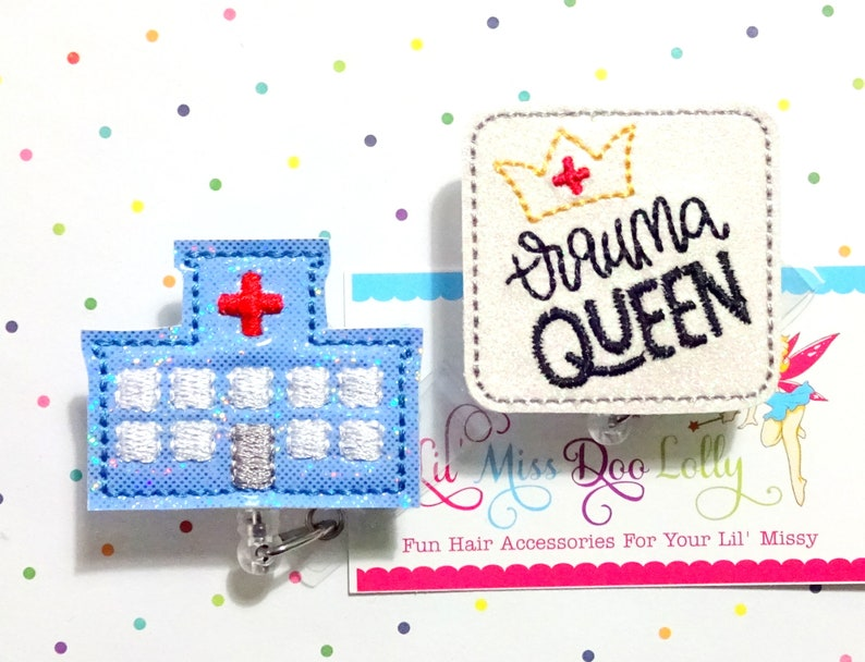 Set of 1 Medical Badge Reel ID Badge,Trauma Queen Badge Reel Nurse Badge Reel Nursing ID Badge Reel Glitter Badge Reel