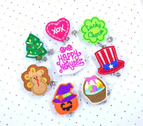 Owl Badge,Glitter ID Badge,Badge Reel Christmas Badge Reel Gift Set ID Badge Holder,Christmas Tree Badge Reel Set of 2