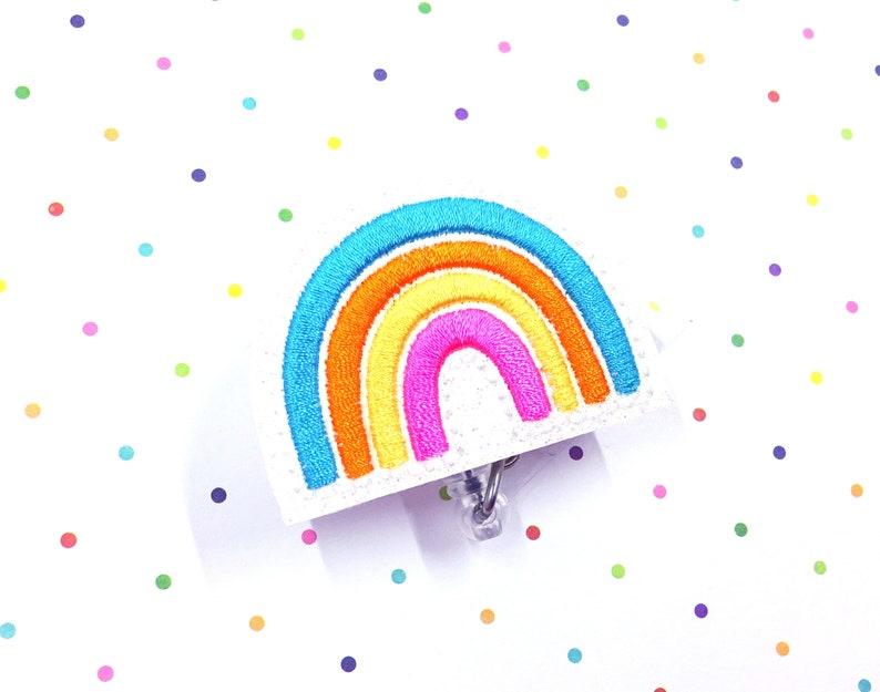 ID Badge Holder Rainbow ID Holder Set of 1 Rainbow Badge Reel Nurse Badge Rainbow Badge Reel Glitter Badge Rainbow ID Badge