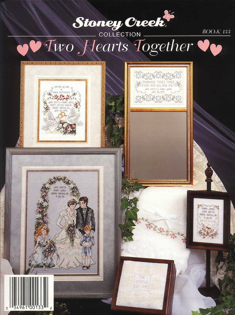 Two Hearts Together Counted Cross Stitch Book, PDF (Chart and Key ONLY)