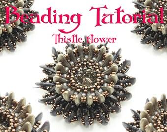 Beading pattern Beadweave tutorial crescent beads flower eTutorial beadweaving instructions beaded tutorial czechmates swarovski rivoli ENG