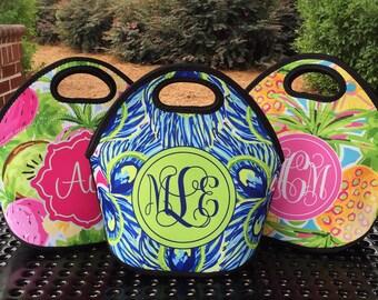 Monogrammed Lunchbox, Monogram Lunch Bag,  Monogrammed Lunch Tote, Personalized Lunch Tote, Monogrammed Gift for Her   Lunch Bag for Women