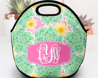 Lunch Box for Woman   Succulents   Monogram Lunch Box   Neoprene Lunch Box   Lilly Pulitzer Inspired Lunch Box