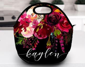 Monogram Lunch Bag   Floral    Lunch Bag   Gift for Her
